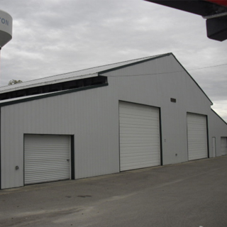 garage doors on a barn